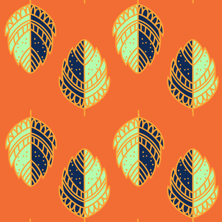 fabric texture: Bright ethnic pattern, hand drawn leave texture