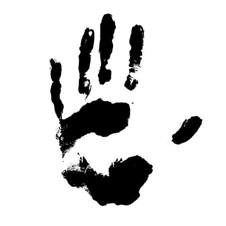 Handprint nero isolato in bianco, illustrazione vettoriale