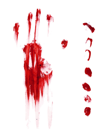 Horror blood hand and finger print isolated in white, vector illustration