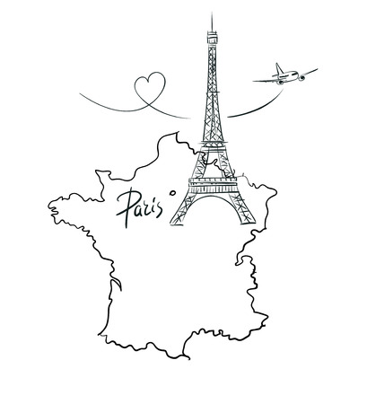 paris france: Hand drawn illustration with Eiffel tower and map of France. Paris Illustration