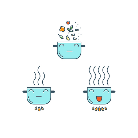 food preparation: Cooking thin line icons set. Cute color Pot icon. Food preparation design elements.
