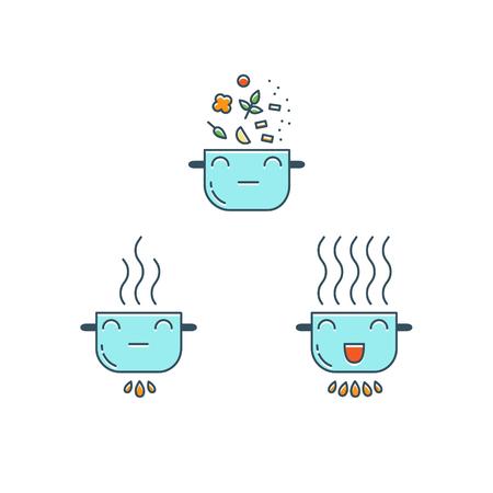 Cooking thin line icons set. Cute color Pot icon. Food preparation design elements.