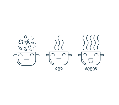 food preparation: Cooking line icons. Food preparation design elements.