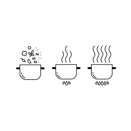 Cooking line icons set. Food preparation design elements. Pots isolated on white background Vetores