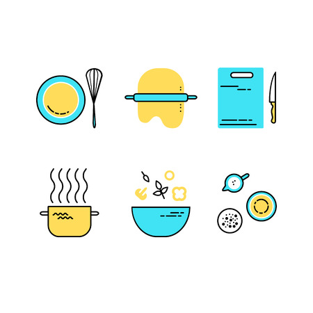 set of flat line cooking icons. Food preparation design elements. Illustration