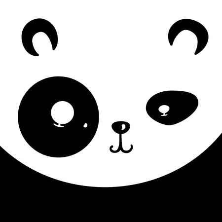 simple frame: Vector panda card. Cartoon cute animal face Illustration
