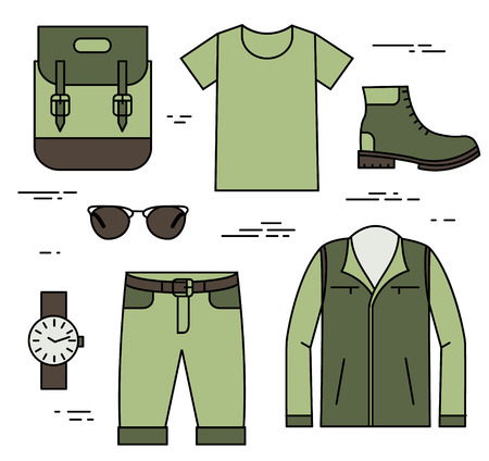 uniform green shoe: Set of traveler clothing in minimal linear style