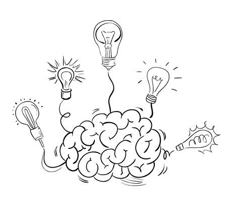 Cerveau et de nombreuses ampoules idée.
