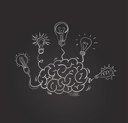 electric bulb: brain with different bulbs on blackboard. Idea concept. Sketchy style