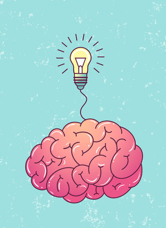 genial: Great idea poster. Brain with light bulb on blue grunge background. Illustration