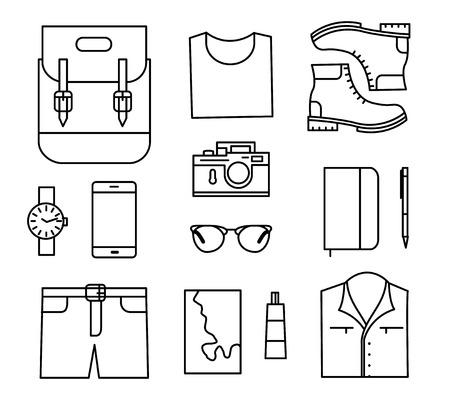 men s boot: Tourist stuff. Vector line icons set isolated on white background. Traveler preparing Illustration