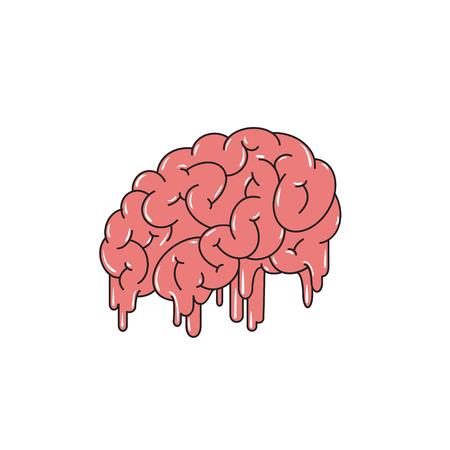 mindfulness: Melting brain isolated on white background. Vector illustration