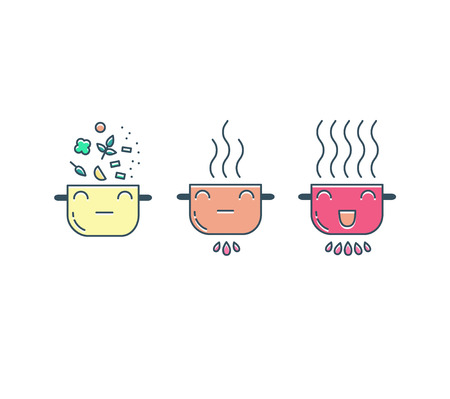 food preparation: Cooking line icons set. Food preparation design elements. Pots isolated on white background