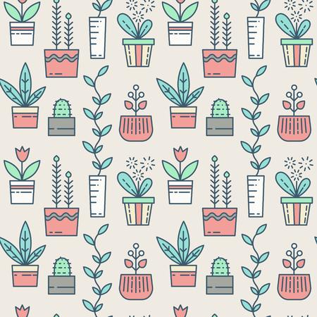 houseplants Linha ícones padrão sem emenda. Vector flores em vasos Banco de Imagens - 58192845