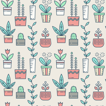 houseplants: Line houseplants icons seamless pattern. Vector flowers in pots