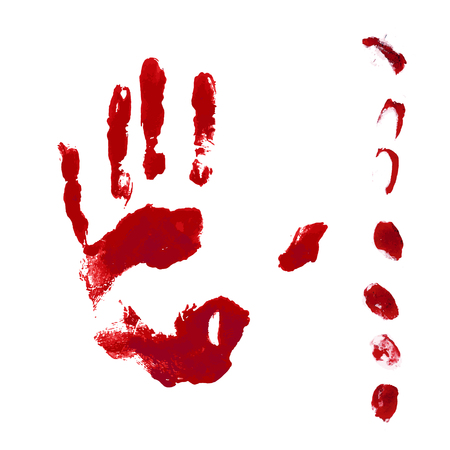 Horror blood hand and finger print isolated on white background