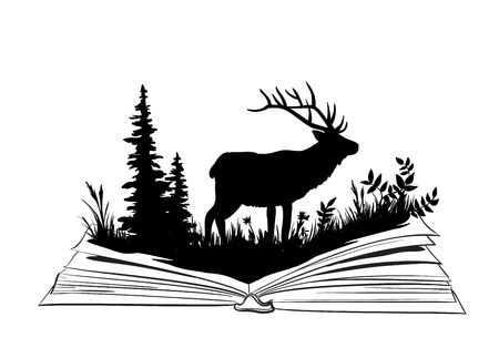 sihlouette: Deer sihlouette in the open book, nature exploration illustration Illustration