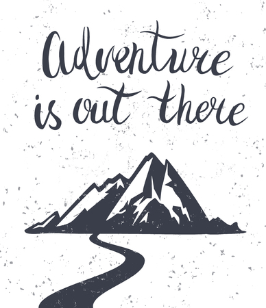 mountain silhouette: Vector illustration with hand drawn lettering and mountain on texture background. Mountains exploration poster