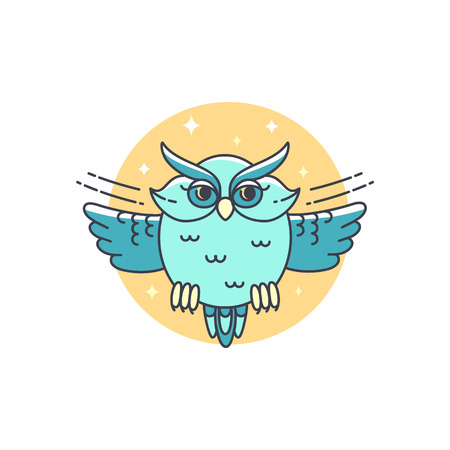 pigeon owl: Owl logo. Vector illustration in lilear style