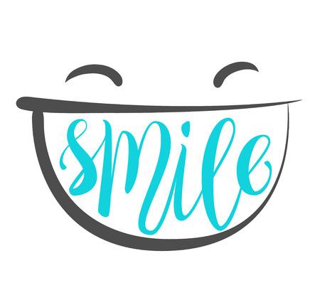 disposition: Positive thinking, smile poster. Smile brush lettering Illustration