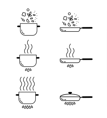 Cooking line icons set. Food preparation design elements. Pots isolated on white background
