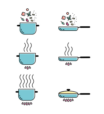 food preparation: Color cooking line icons set. Food preparation design elements. Pots isolated on white background