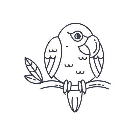 Parrot line icon isolated on white. Cute vector bird