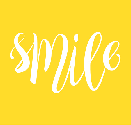 gaily: Smile hand written lettering, yellow positive thinking card.