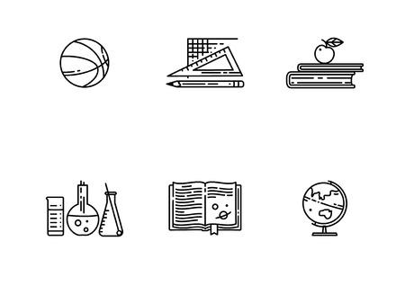 Set van school vlakke lijn vector icon. Lineaire boeken, basketbal bal, wereldbol en nog veel meer. Sport, scheikunde, aardrijkskunde, wiskunde, literatuur.