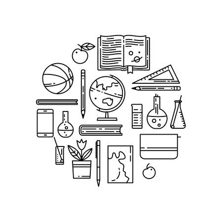 Set van school vlakke lijn icoon. Lineaire boeken, basketbal bal, wereldbol en nog veel meer. Sport, scheikunde, aardrijkskunde, wiskunde, literatuur Stock Illustratie