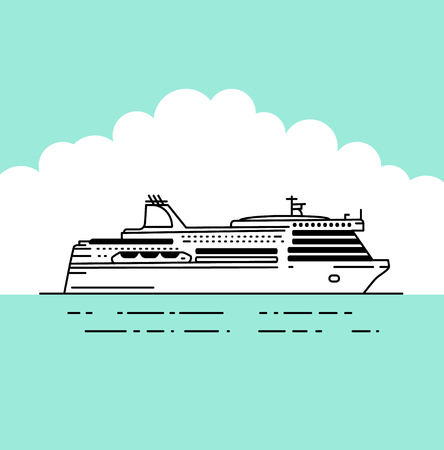ferry boat: flat ferry icon, ferry boat illustration in linear stile. Transportation Concept Illustration