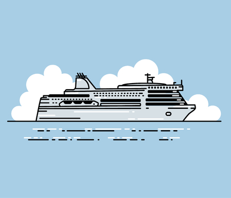 ferry boat: Ferry boat and clouds. illustration in linear stile. Transportation Concept