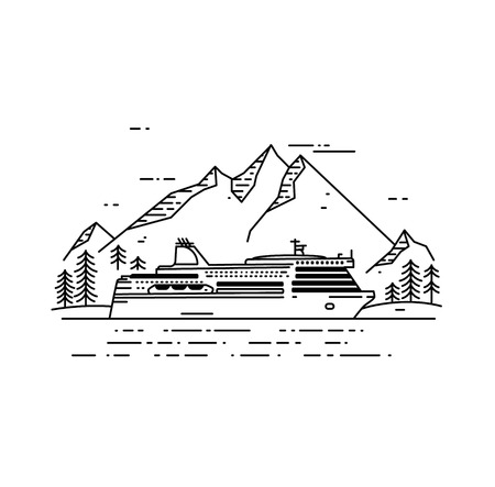 ferry boat: Cruise ship flat line illustration. Ferry boat with mountain landscape. Travel concept. Illustration