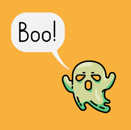 Cute ghost and speech bubble with text Boo .Halloween character. Bright Flat linear Illustration.