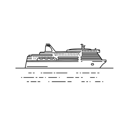 ferry boat: Ferry boat illustration in linear stile. Travel line icon, isolated on white background
