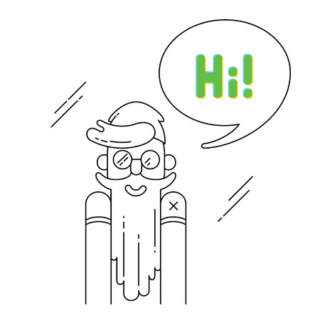 speech buble: Hipster says Hi!. Smiling bearded man and speech buble in modern thin line style Illustration