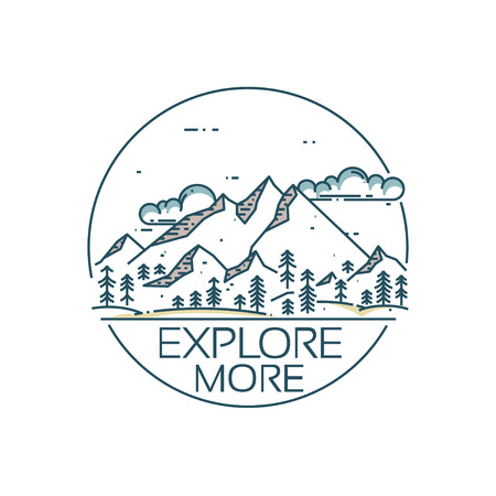 Mountains exploration card. Round composition with text Explore more. linear mountains, clouds and forest.