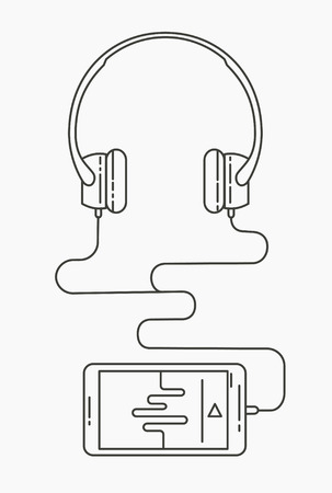 listening to music: Music listening concept. smartphone with earphones. Flat linear illustration isolated on white. Illustration