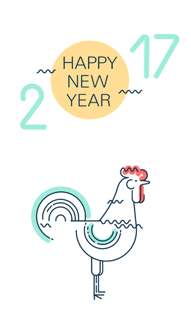 Happy New Year greeting card with rooster. 2017. Flat line vector illustration Illustration
