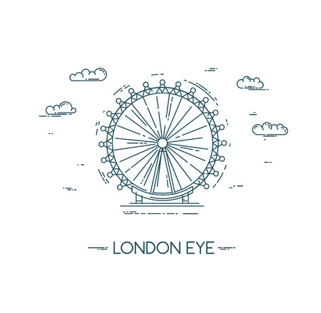 The London Eye. Vector flat line illustration. Famous London city landmark