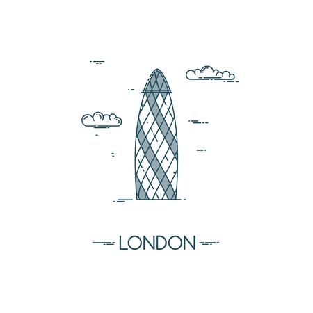 london landmark: Skyscraper Gherkin in City of London. Famous London landmark. Flat line vector illustration.