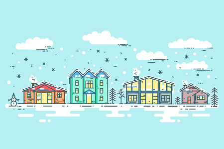 Cityscape in winter. Urban landscape card. Vector flat line illustration with houses, trees, clouds and snow.