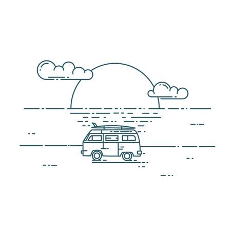 Minivan with sunset landscape.
