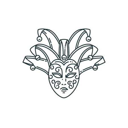 costume ball: Vector line carnival mask design.