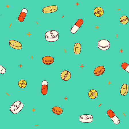 Colorful seamless pattern with pills and capsules. Ilustração