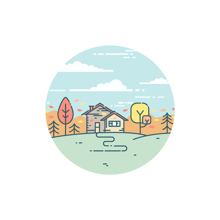 Vector flat illustration with suburban house in autumn. Nature in fall, peaceful country landscape Stock Vector - 83947841