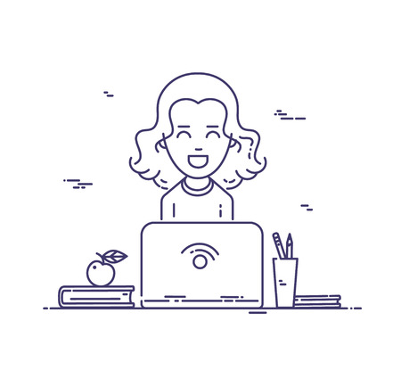 Woman at work. Smiling young girl using laptop vector linear illustration Illustration