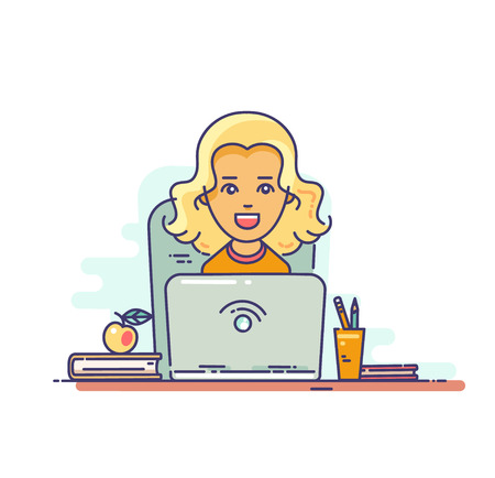 Woman at work. Smiling young girl . Flat vector linear illustration