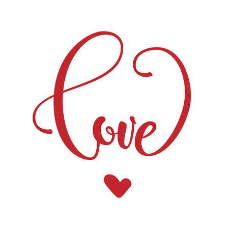 Phrase love in heart shape. Valentine s day lettering isolated on white background Stock Photo