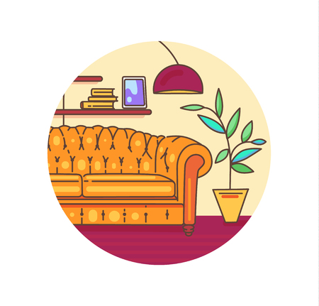 Vector interior with furniture . a living room icon Zdjęcie Seryjne